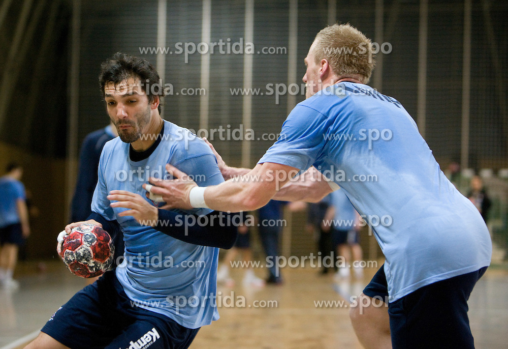 David Spiler vs Miha Zvizej at Open training session for the public of Slovenian handball National Men team before European Championships Austria 2010, on December 27, 2009, in Terme Olimia, Podcetrtek, Slovenia.  (Photo by Vid Ponikvar / Sportida)