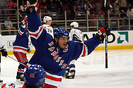 Jaromir Jagr of the New York Rangers reacts after scoring a goal 29 seconds into the game against the Washington Capitals  at Madison Square Garden in New York Thursday 05 October 2006.<br />
