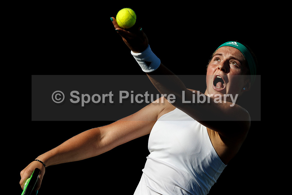 AEGON International 2017- Eastbourne - England. Round 1.<br /> Jelana Ostapenko of Latvia in action serving against Carla Suarez of Spain.<br /> Monday 26th, June, 2017 - Devonshire Park, Eastbourne, England.<br /> (Photo Credit: Nick Walker/Sport Picture Library)