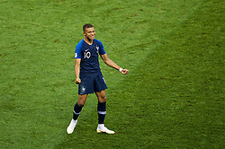 MOSCOW, RUSSIA - Sunday, July 15, 2018: France's Kylian Mbappe celebrates scoring the fourth goal during the FIFA World Cup Russia 2018 Final match between France and Croatia at the Luzhniki Stadium. (Pic by David Rawcliffe/Propaganda)