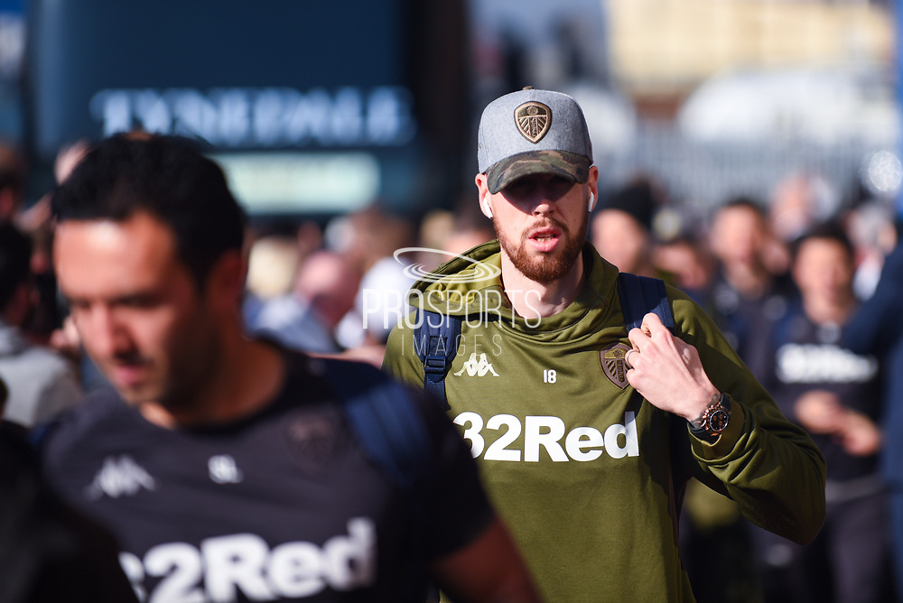 Pontus Jansson of Leeds United (18) arrives at the ground before the EFL Sky Bet Championship match between Leeds United and Bolton Wanderers at Elland Road, Leeds, England on 23 February 2019.