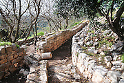 Israel, Western Galilee, The remains of the 12th century Crusader fortress of Yehiam (Gidin) Bunkers used by the Israeli settlers during the 1948 war of independence