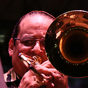 American jazz trombonist Steve Turre performs with Latin Jazz All-Stars in front of a large crowd at the 26th annual duPont Clifford Brown Jazz Festival Thursday, June 19, 2014, at Rodney Square Park in Wilmington, DEL.    <br /> <br /> &ldquo;The Clifford Brown Jazz Festival is a staple of Wilmington&rsquo;s performing arts culture,&rdquo; said Mayor Dennis P. Williams. &ldquo;The City is excited to celebrate the 26th anniversary and I hope the community gets involved and enjoys all of the many activities the festival has to offer.&rdquo;<br /> <br /> The Clifford Brown Jazz festival is the largest FREE out door music event on the east coast of the United States.