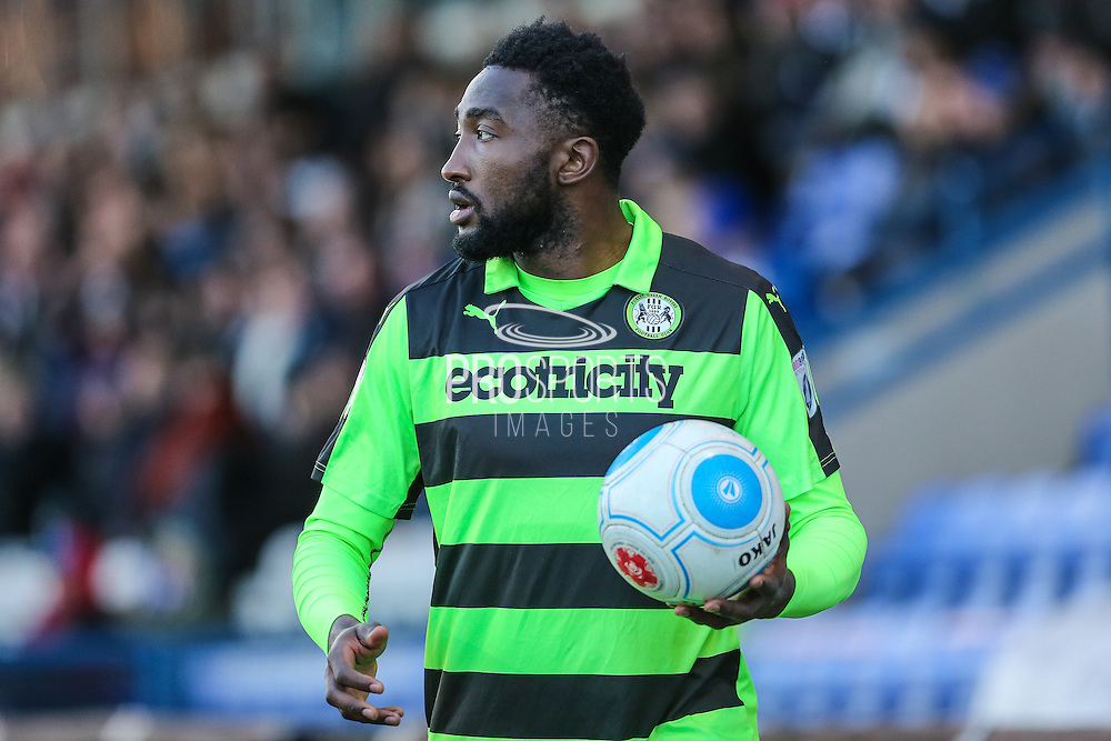 Forest Green Rovers Manny Monthe(3) during the FA Trophy match between Macclesfield Town and Forest Green Rovers at Moss Rose, Macclesfield, United Kingdom on 4 February 2017. Photo by Shane Healey.