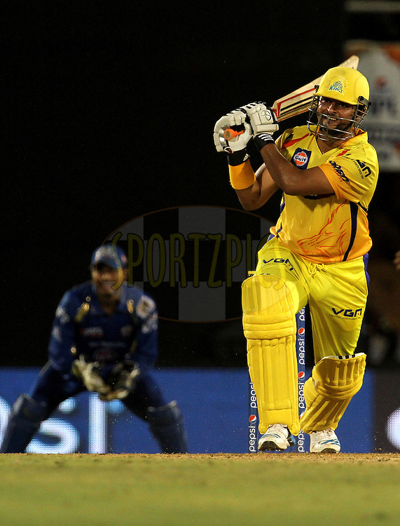 Suresh Raina of The Chennai Superkings plays a shot during the eliminator match of the Pepsi Indian Premier League Season 2014 between the Chennai Superkings and the Mumbai Indians held at the Brabourne Stadium, Mumbai, India on the 28th May  2014<br /> <br /> Photo by Vipin Pawar / IPL / SPORTZPICS<br /> <br /> <br /> <br /> Image use subject to terms and conditions which can be found here:  http://sportzpics.photoshelter.com/gallery/Pepsi-IPL-Image-terms-and-conditions/G00004VW1IVJ.gB0/C0000TScjhBM6ikg