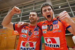 Vlado Petkovic and Uros Kovacevic of ACH celebrate after the volleyball match between ACH Volley and UKO Kropa at Finals of Slovenian Cup 2010, on December 21, 2010 in Dvorana OS, Nova Gorica, Slovenia. ACH Volley defeated Kropa 3-0 and become Slovenian Cup Champion. (Photo By Vid Ponikvar / Sportida.com)