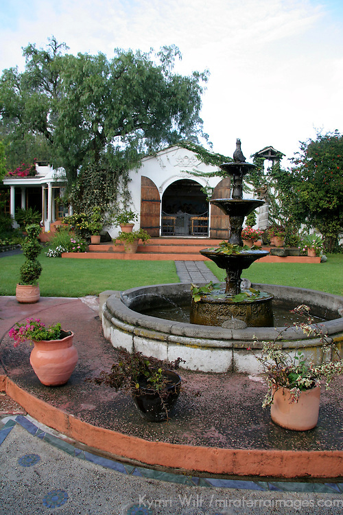 South America, Ecuador, Cotacachi. La Mirage Garden Hotel Fountain