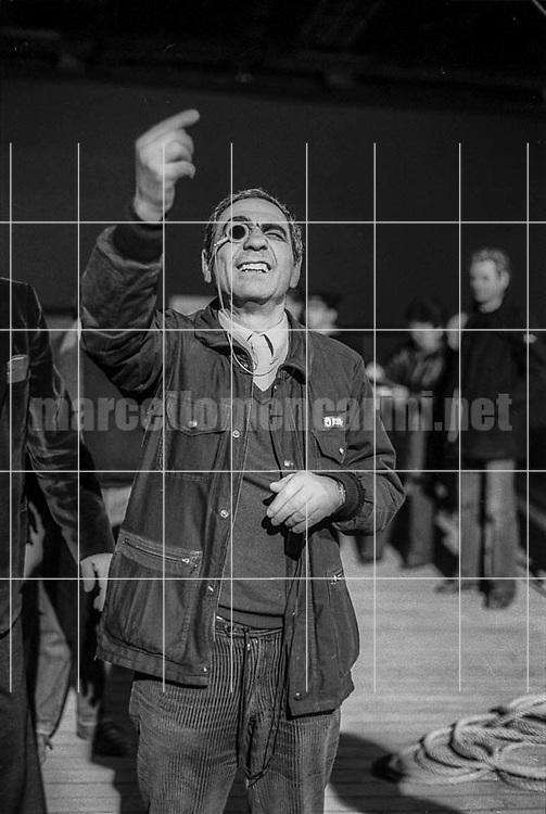 """Director of photography Giuseppe Rotunno on the set of the movie """"E la nave va"""" (And the Ship Sails On) Cinecittà Studios, Rome 1983 / Il direttore della fotografia Giuseppe Rotunno sul set del film """"E la nave va"""", Studi cinematografici di Cinecittà, Roma 1983 - © Marcello Mencarini"""