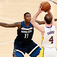25 December 2017: Minnesota Timberwolves guard Jamal Crawford (11) defends on Los Angeles Lakers guard Alex Caruso (4) during the Minnesota Timberwolves 121-104 victory over the LA Lakers, at the Staples Center, Los Angeles, California, USA.