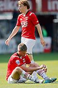 ALKMAAR - 23-08-15, AZ - Willem II, AFAS Stadion, 0-0, teleurstelling, AZ speler Guus Hupperts (r), AZ speler Markus Henriksen (l).