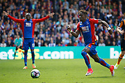 Crystal Palace midfielder Wilfried Zaha bursts in to the box during the Premier League match between Crystal Palace and Hull City at Selhurst Park, London, England on 14 May 2017. Photo by Andy Walter.