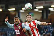 Aaron Lennon of Burnley  and Lynden Gooch of Sunderland  contest an aerial ball  during the EFL Cup match between Burnley and Sunderland at Turf Moor, Burnley, England on 28 August 2019.