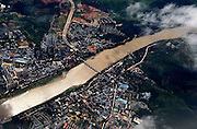 JINGHONG, CHINA - (CHINA OUT) <br /><br />Lancang River From The Air<br /><br />A general view of the Lancang River is seen from the air  in Jinghong, Yunnan Province of China. The Lancang River is the longest river flowing from north to south in China. It takes its source from the Zhaqu of the Guangguori Peak of Tanggula Mountain Range in Qinghai Province, China. It is called the Lancang River after it reaches Changdu. The river runs south until it leaves China at the Nanla Bayout of Yunnan Province and therefrom changes its name from the Lancang River to the Mekong River. The river finally empties into the Pacific Ocean in the south of Ho Chi Minh City of Vietnam.<br />©Exclusivepix