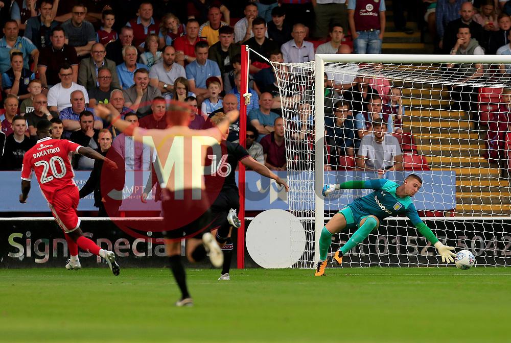 Sam Johnstone of Aston Villa tips a show from Amadou Bakayoko of Walsall wide - Mandatory by-line: Paul Roberts/JMP - 18/07/2017 - FOOTBALL - Bescot Stadium - Walsall, England - Walsall v Aston Villa -  Pre-season friendly