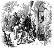 Villagers from a fishing community going to church on Sunday. Wood engraving, London, 1872