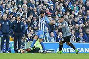 Brighton and Hove Albion defender Connor Goldson (18) battles with Coventry City player Jonson Clarke-Harris (18) during the The FA Cup match between Brighton and Hove Albion and Coventry City at the American Express Community Stadium, Brighton and Hove, England on 17 February 2018. Picture by Phil Duncan.