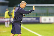 Russell Milton, Assistant manager of Cheltenham Town gives instructions during the Gloucestershire Senior Cup match between Forest Green Rovers and Cheltenham Town at the New Lawn, Forest Green, United Kingdom on 20 September 2016. Photo by Shane Healey.