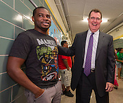 Houston ISD Superintendent Dr. Terry Grier talks with parents during the first day of school at Shearn Elementary School, August 25, 2014.