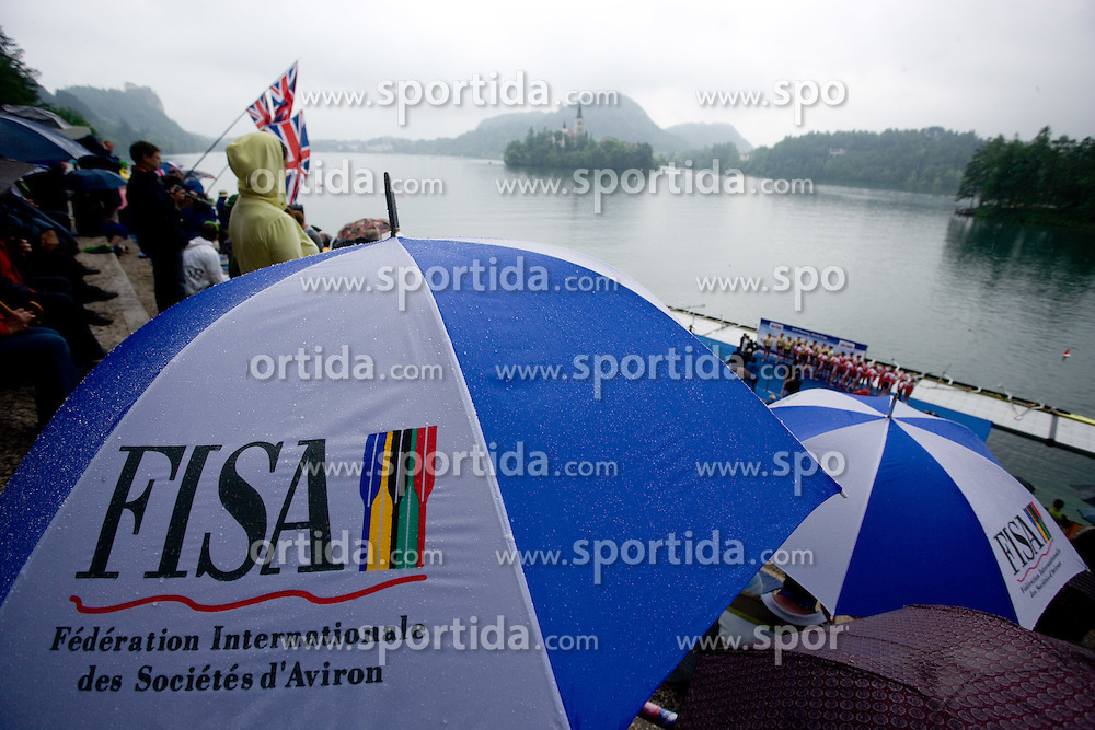 Spectators in finish area during finals at Rowing World Cup  on May 30, 2010, at Bled's lake in Zaka, Bled, Slovenia. (Photo by Vid Ponikvar / Sportida)
