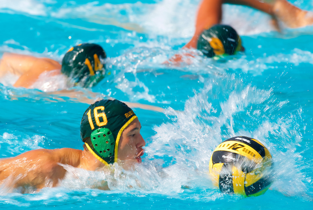 11/4/16 &ndash; Waterpolo &ndash; <br /> <br /> Golden West's Jacob Thompson leads the offensive charge against Saddleback during OEC Water Polo Tournament at Saddleback College in Mission Viejo, Calif., Nov. 4, 2016.<br /> <br /> Photo by Seth Laubinger / Sports Shooter Academy