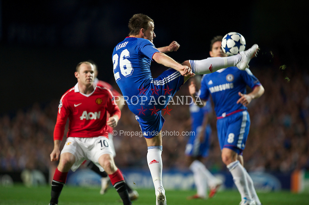 LONDON, ENGLAND, Wednesday, April 6, 2011: Chelsea's captain John Terry in action against Manchester United during the UEFA Champions League Quarter-Final 1st leg match at Stamford Bridge. (Photo by David Rawcliffe/Propaganda)