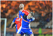 Joe Bunney, Marcus Haber during the Sky Bet League 1 match between Rochdale and Crewe Alexandra at Spotland, Rochdale, England on 16 February 2016. Photo by Daniel Youngs.