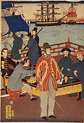 One print of triptych showing European merchants taking refreshment with Japanese. In the background are ships in Yokohama harbour, Japan, 1861. Utagawa Yohsitora (active 1850-1870) Japanese artist.  Trade Commerce Ship Sail