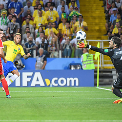 Neymar Jr of Brazil misses his chance during the FIFA World Cup Group E match between Serbia and Brazil on June 27, 2018 in Moscow, Russia. (Photo by Anthony Dibon/Icon Sport)