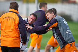 03.10.2012, Melwood, Liverpool, ENG, UEFA EL, FC Liverpool, im Bild Liverpool's Jamie Carragher and captain Steven Gerrard share a joke with manager Brendan Rodgers // during a training session ahead of the UEFA Europa League Group A match against Udinese Calcio at at Melwood Training Ground, Liverpool, England on 2012/10/03. EXPA Pictures © 2012, PhotoCredit: EXPA/ Propagandaphoto/ David Rawcliff..***** ATTENTION - OUT OF ENG, GBR, UK *****