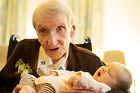 03/12/2014  Sr Sarah Jordan of the FMFD who turned 100 years young and her great great Grand Niece Annabella Mary Berne(7weeks) at the Franciscian Convent in Balliansloe Galway. Photo:Andrew Downes . Photo:Andrew Downes