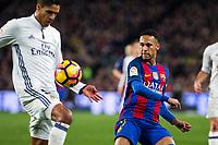 Real Madrid's Raphael Varane, FC Barcelona's Neymar Santos Jr during spanish La Liga match between Futbol Club Barcelona and Real Madrid  at Camp Nou Stadium in Barcelona , Spain. Decembe r03, 2016. (ALTERPHOTOS/Rodrigo Jimenez)