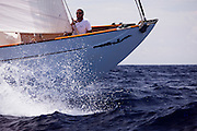 Mariella sailing in the Old Road Race at the 2011 Antigua Classic Yacht Regatta.