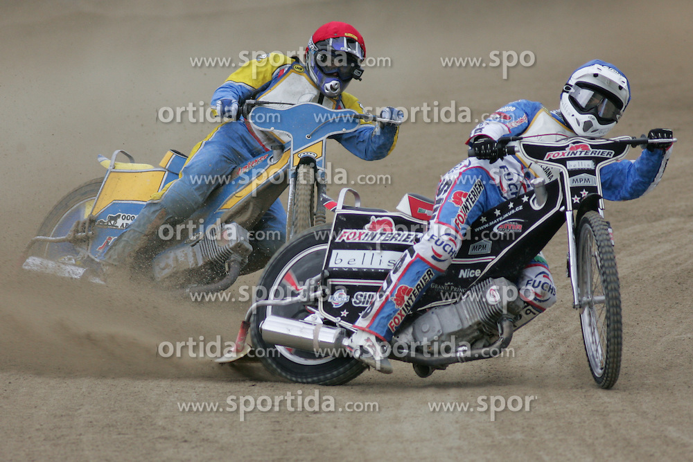 Alexey Karchenko of Russia and Matej Kus of Czech Republic at Speedway European Championship race semi finals of individuals, on June 19, 2010, in Sportni park Ilirije, Ljubljana, Slovenia. (Photo by Urban Urbanc / Sportida)