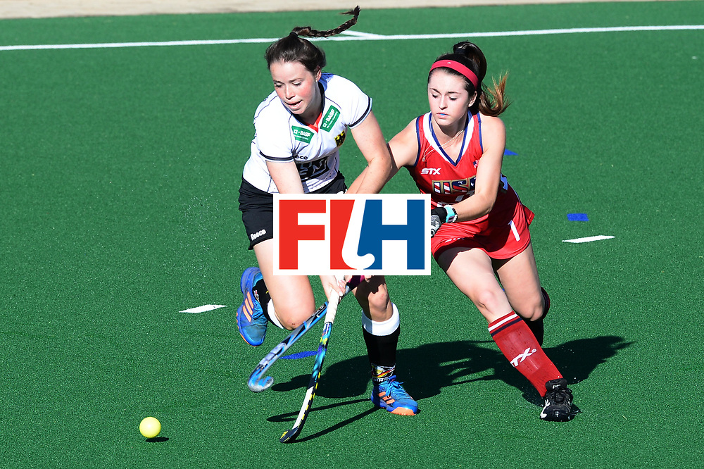JOHANNESBURG, SOUTH AFRICA - JULY 23: Erin Matson of United States of America tackles Amelie Wortmann of Germany during day 9 of the FIH Hockey World League Women's Semi Finals, final  match between United States and Germany at Wits University on July 23, 2017 in Johannesburg, South Africa. (Photo by Getty Images/Getty Images)