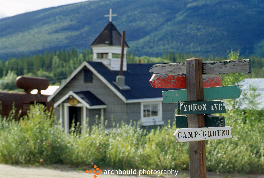 Signpost in the town of Keno, Yukon