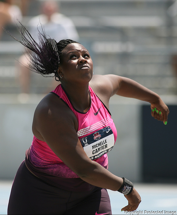 CARTER - 13USA, Des Moines, Ia. - Michelle Carter won the shot put with an American record.   Photo by David Peterson