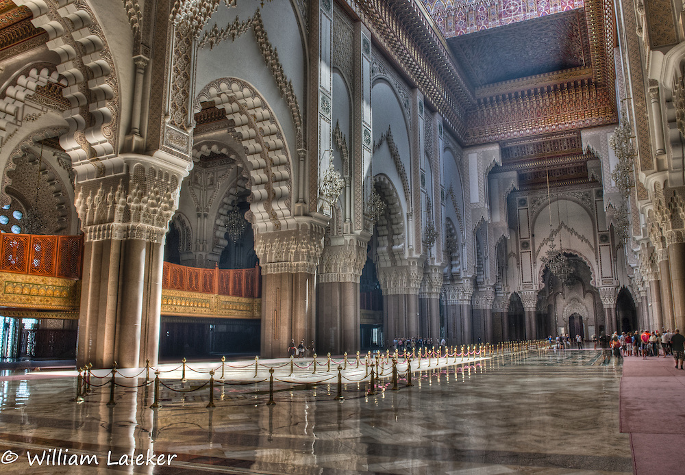 Sun beams into Casablanca's Hassan II Mosque. One of the largests Mosques in the world.
