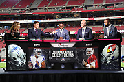 Football analysts Suzy Kolber, Steve Young, Randy Moss, Matt Hasselbeck, and Charles Woodson discuss the upcoming game in the ESPN Monday Night Countdown booth before the Arizona Cardinals 2017 NFL week 3 regular season football game against the Dallas Cowboys, Monday, Sept. 25, 2017 in Glendale, Ariz. The Cowboys won the game 28-17. (©Paul Anthony Spinelli)