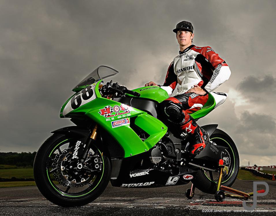 Eighteen year old Dustin Dominquez on his Kawasaki ZX-10 race bike at Hallett Raceway in Hallett, Oklahoma