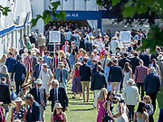 Henley Royal Regatta, 3-7 July 2019.General View, GV, Spectators, in the Bridge Bar, Stewards' Enclosure, Royal Henley Peace Regatta Centenary, 1919-2019. Henley on Thames.<br /> <br /> <br /> <br /> [Mandatory Credit: Patrick WHITE/Intersport Images], 4, 04/07/2019,  15:30:28