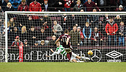 Hearts David Milinkovic scores his side's third goal of the game during the Ladbrokes Scottish Premiership match at Tynecastle Stadium, Edinburgh.