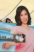 Malaysia, Kuala Lumpur. Advertising for Sony digicams at KL Monorail Bukit Bintang station.