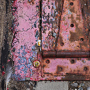 Photograph of back alley urban collage - rusty hinged door, feather, cigarette butts, and cement.