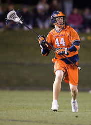 Virginia Cavaliers LSM Mike Timms (44) in action against UNC.  The Virginia Cavaliers Men's Lacrosse Team defeated the North Carolina Tar Heels 10-9 in overtime at Klockner Stadium in Charlottesville, VA on April 7, 2007.