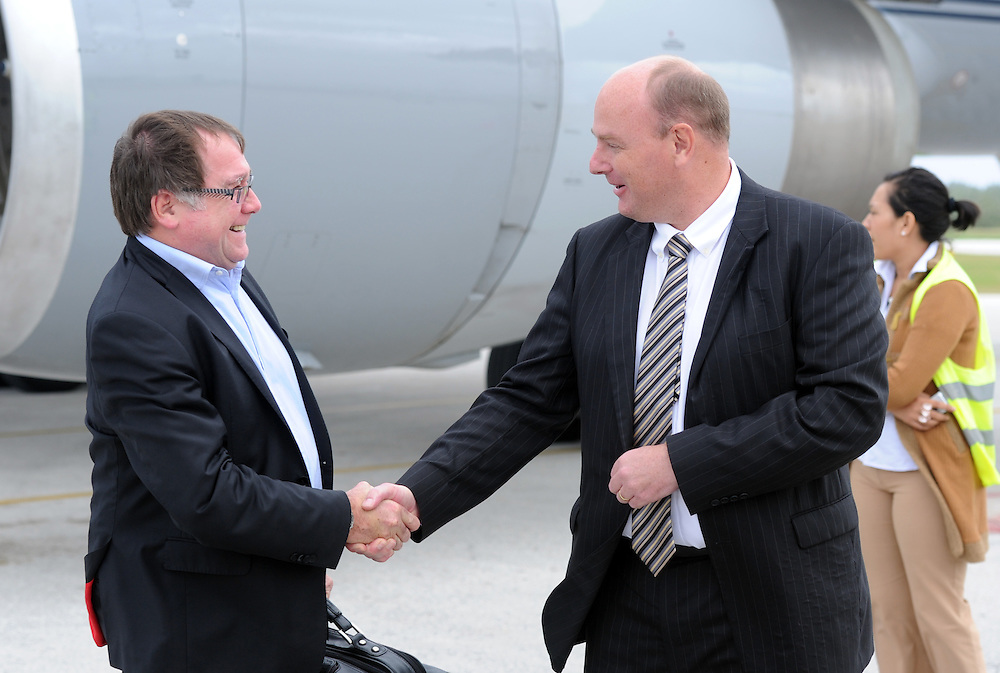 Minister of Foreign Affairs Murray McCully is met by High Commissioner to Tonga Jonathan Austin at Fua'amotu International Airport for the Pacific Mission 2012, Nuku'alofa, Tonga, Monday, July 23, 2012. Credit:SNPA / Ross Setford