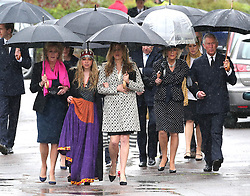The Prince of Wales and Duchess of Cornwall along with Mark Shand's 19-year-old daughter, Ayesha,her cousin, Katie Elliot and the Duchess of Cornwall's sister Annabel Elliot arriving for Mark Shand's funeral at Holy Trinity Church, Stourpaine, Dorset, United Kingdom, Thursday, 1st May 2014. Picture by Stephen Lock / i-Images