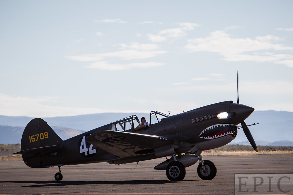 RENO, NV - SEPTEMBER 13: Bernie Vasquez sits on the ramp in his airplane named Texas Warhawk after a practice run at the Reno Championship Air Races on September 13, 2017 in Reno, Nevada. (Photo by Jonathan Devich/Getty Images) *** Local Caption *** Bernie Vasquez