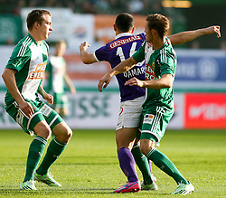 09.11.2014, Ernst Happel Stadion, Wien, AUT, 1. FBL, SK Rapid Wien vs FK Austria Wien, 15. Runde, im Bild Christopher Dibon (SK Rapid Wien) , Omar Damari (FK Austria Wien) und Mario Pavelic (SK Rapid Wien) // during a Austrian Football Bundesliga Match, 15th Round, between SK Rapid Vienna and FK Austria Vienna at the Ernst Happel Stadion, Wien, Austria on 2014/11/09. EXPA Pictures © 2014, PhotoCredit: EXPA/ Alexander Forst