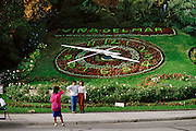 Clock in a public garden with landscaped flowers. Vina del Mar, Chile..
