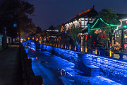 night photography of Chengdu, Kuan Zhai Xiang Zi historic city. Sichuan, China